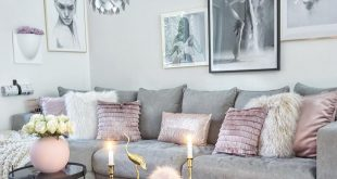 Cool grey interior with a pop of pink and gold to warm it up..stunning....Fabulu...