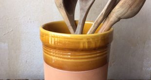 Italian Ceramic Utensil Holder - Ochre Canister