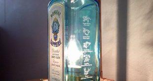 Steampunk Kupfer Flasche Lampe Tischlampe Bombay Saphir Vintage Retro LED Gesche...